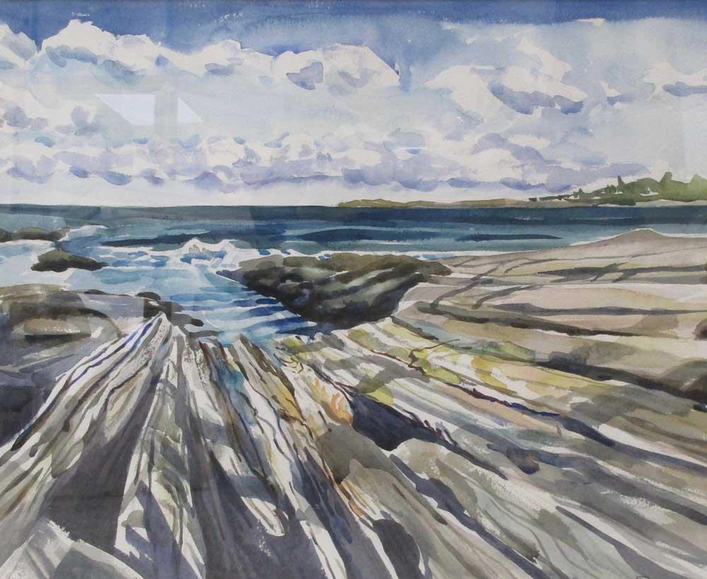 "Ridges #2, watercolor, 26"" x 22"" custom framed by Gwendolyn Evans"