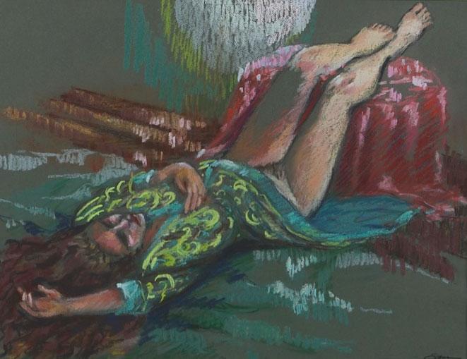 """Sleeping in Moonlight, 28″ x 22,"""" pastel, $575 by Gwendolyn Evans"""