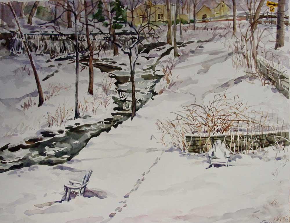 Winter Solitude, Shawnee-on-Delaware, watercolor by Gwendolyn Evans