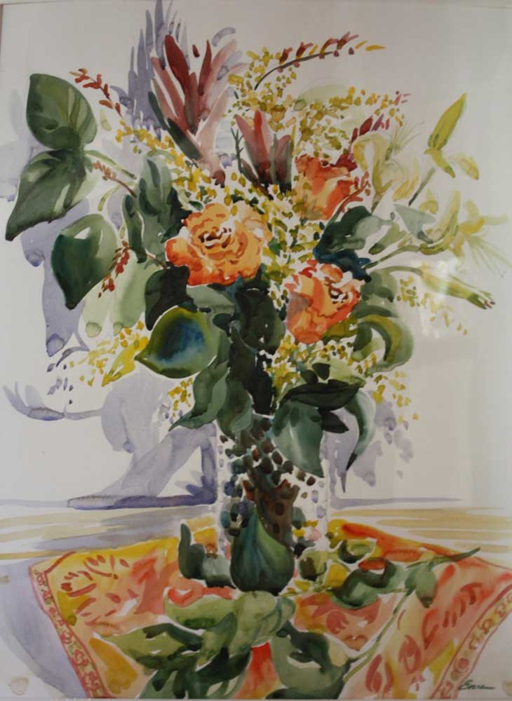 """October Bouquet, watercolor, matted, 28"""" x 33,"""" $775 by Gwendolyn Evans"""