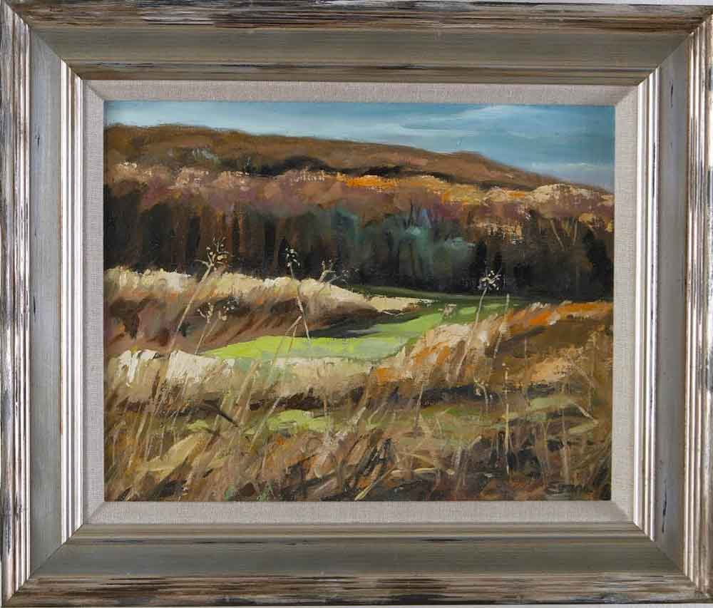 "Open Fields, McDade Trail, oil, 18"" x 16,"" framed, $775 by Gwendolyn Evans"