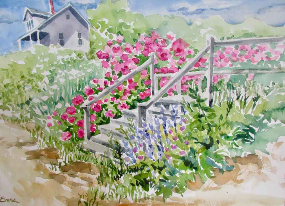 Steps to the Beach, watercolor, matted, $575 by Gwendolyn Evans