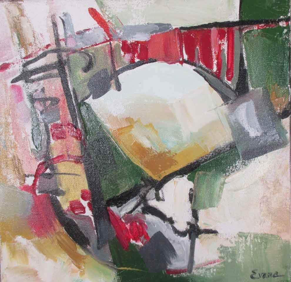 """Grappling,oil, 12"""" x 12"""" $475 by Gwendolyn Evans"""