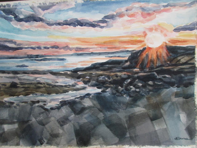 """Sunset on the Rocks, Pemaquid, watercolor, approx. 26"""" x 20,"""" custom framed $875 by Gwendolyn Evans"""