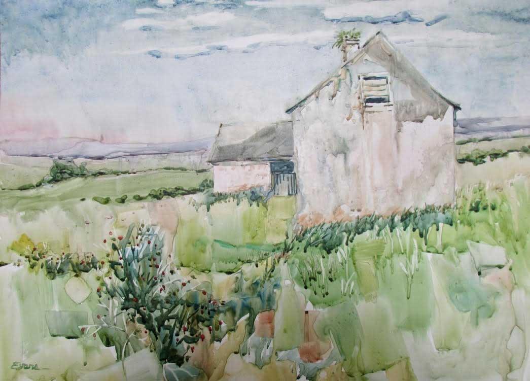 "Abandoned Potato Famine Farm, Ireland , watercolor, 32"" x 26"", custom framed, $975 by Gwendolyn Evans"