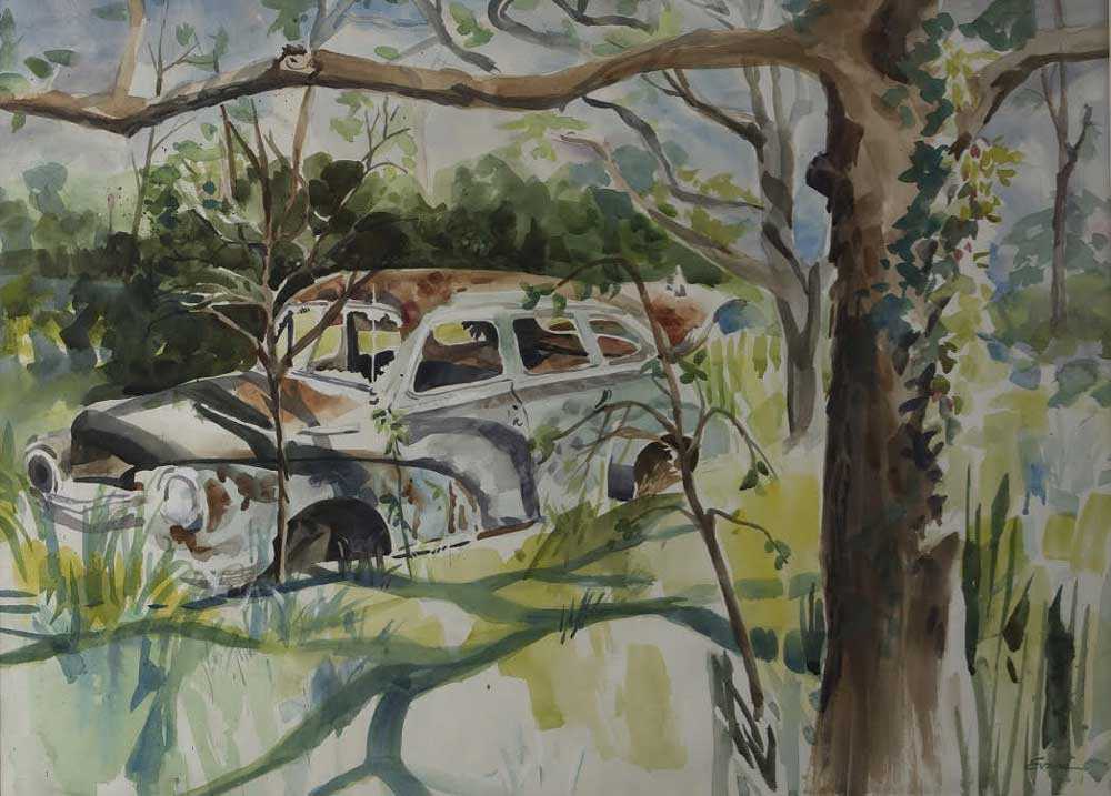 """Abandoned, watercolor, matted, 35 """"x 27 1/2"""" by Gwendolyn Evans"""