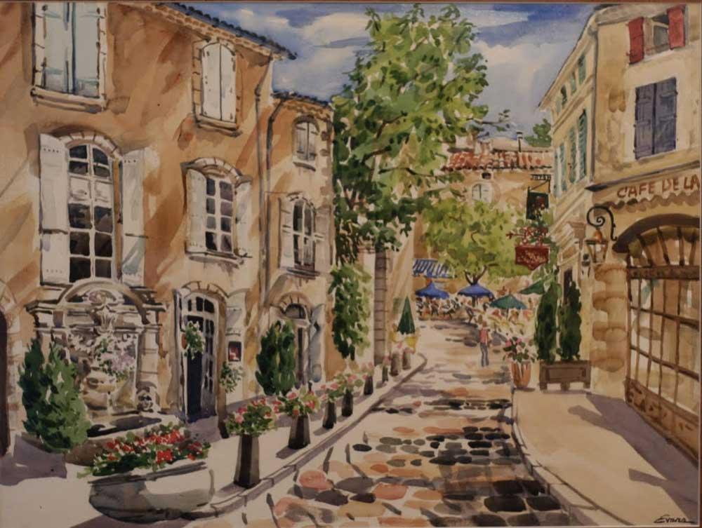 Antibes street watercolor by Gwendolyn Evans